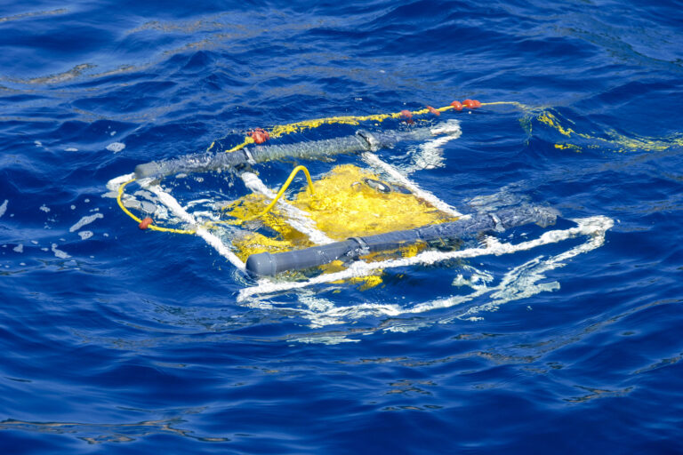 Remotely Operated Underwater Vehicle (ROV) working in the ocean